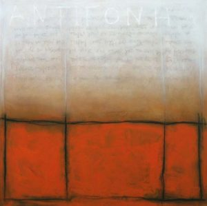 Abstract painting with a caged portion of bright orange fading to white script above