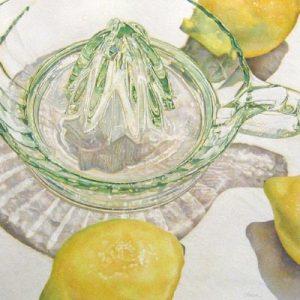 Fresh watercolor painting of lemons