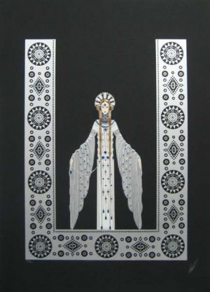 Erte Byzantine Serigraph print in silver and black