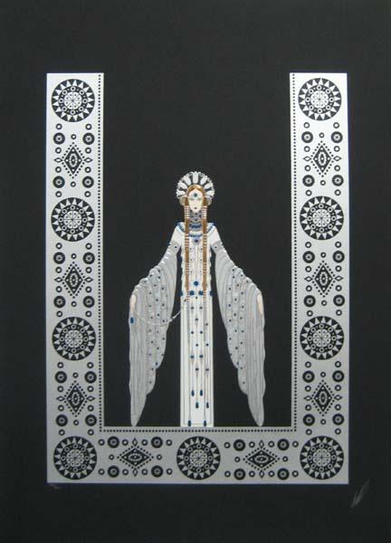Erte Byzantine Serigraph print in silver and black
