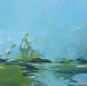 Dressler Oil Painting of Green Landscape and Blue Sky