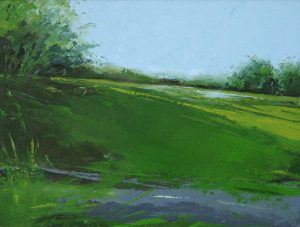 Joerg Dressler Oil Painting of Landstrasse Landscape in Green and Blue