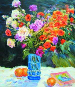 Painting of a vase with flowers and oranges