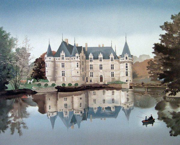 Michel Delacroix - Azay-Le Rideau print of castle/chateau in France with lake