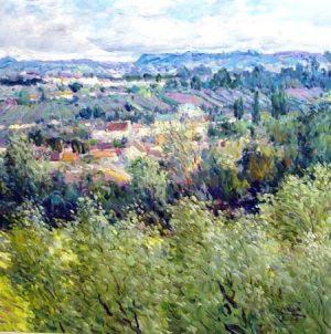 Omar Hamdi Malva Painting - Landscape Distant Hills Green Blue European