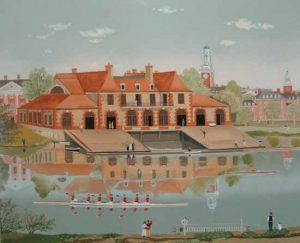 Michel Delacroix - Weld Boathouse (25x32 lithograph on paper)