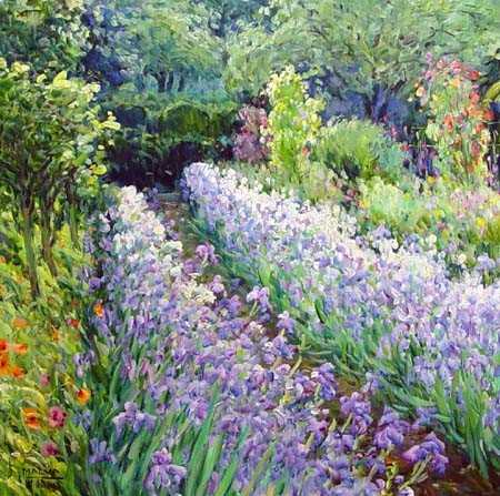 Iris Pathway (32x32 oil on canvas)
