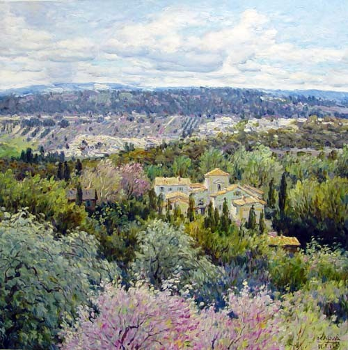 Painting of a distant Tuscan village