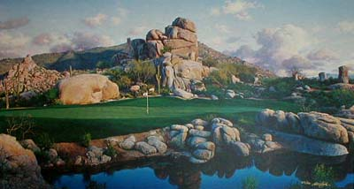 Larry Dyke - #1 at Boulders (18x33 lithograph on paper) print of golf course