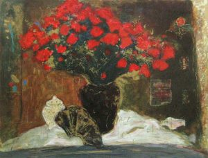 Roy Fairchild Red Flowers (26x35 serigraph on paper)
