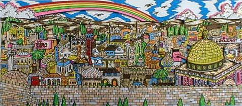 Charles Fazzino - Rainbow Over Jerusalem