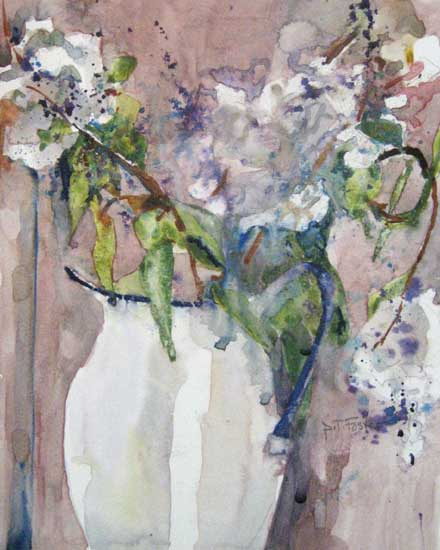 Pat Foster White Vase of Flowers (10x8 watercolor painting on paper)