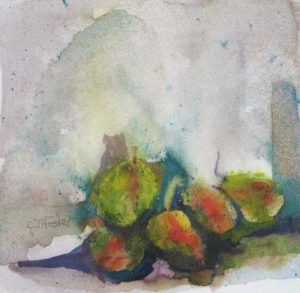 Pat Foster Exotic Fruits (5x5 watercolor on paper)