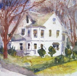 Pat Foster White House (5x5 watercolor painting on paper)