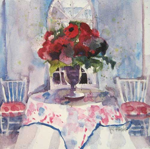 Pat Foster Table Arrangement (5x5 watercolor painting on paper)