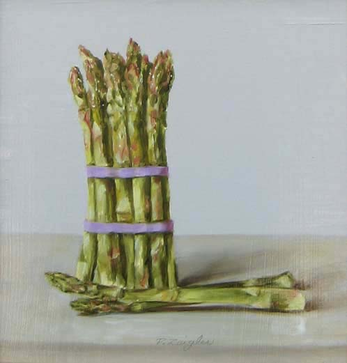 Patti Zeigler Asparagus 9x9 Still Life Painting Vegetable