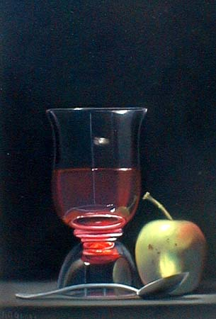 Nicora Gangi - Still Life with Glass Apple and Spoon (9.5 x 6.5 pastel painting on paper)