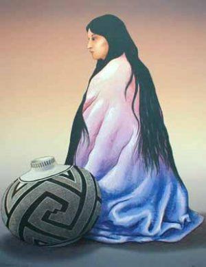 R. C. Gorman - Alma Navajo woman with jar