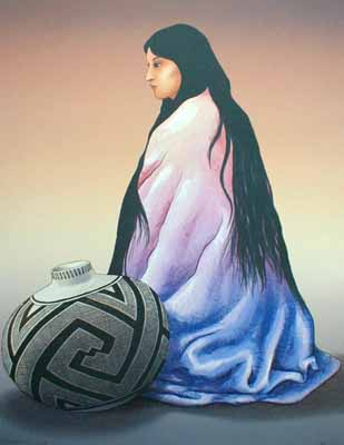 R. C. Gorman - Alma Navajo woman with jar