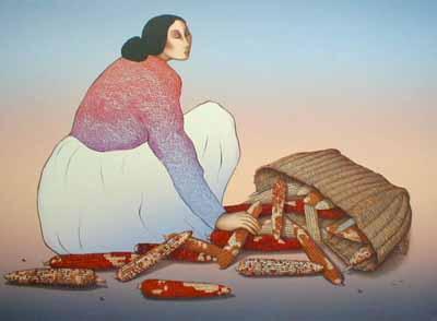R. C. Gorman - Corn Woman (26x36 lithograph on paper)
