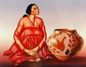 R.C. Gorman - Zia Jar lithograph with navajo woman and large pottery