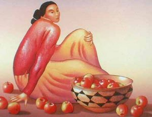 R.C. Gorman - Woman with Apples (30x38 lithograph on paper)