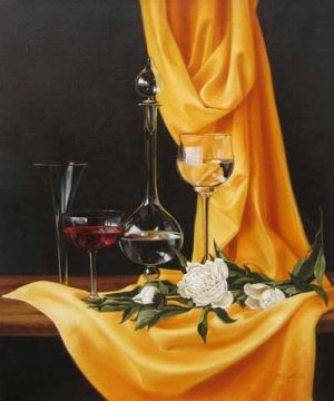 Elena Gualtierotti - Roses and Wineglasses (24x20 oil painting on canvas)