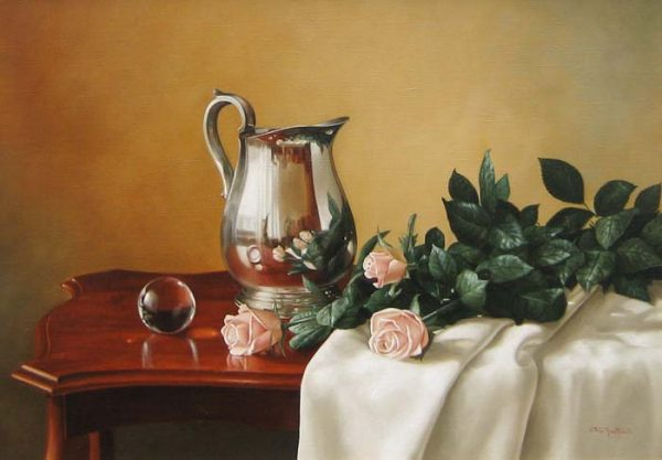 Elena Gualtierotti Silver Pitcher and Roses (20x28 oil painting on canvas)