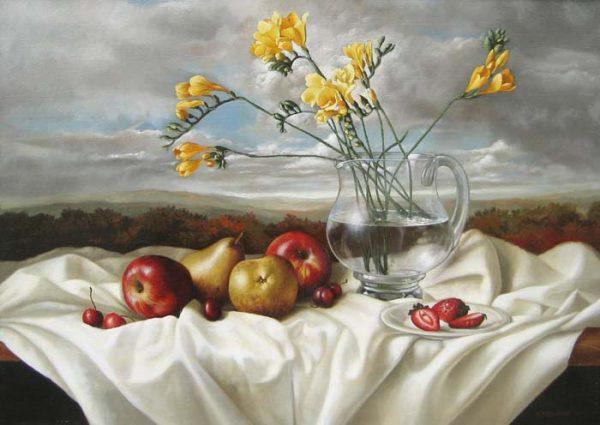 Elena Gualtierotti Still Life with Freesia (20x28 oil on canvas)