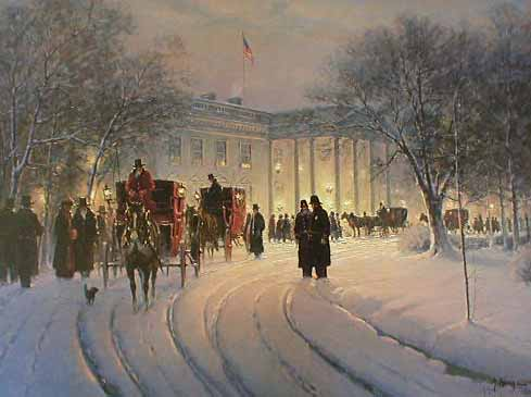 G Harvey - An Evening With The President (20x26 lithograph on paper) White House Washington DC