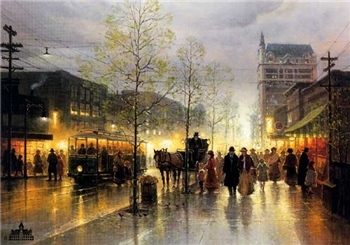 G Harvey - Dallas - The Early Years street scene with lights