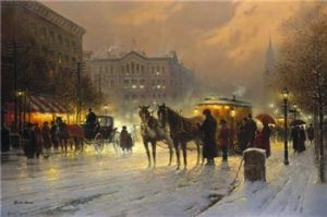 G. Harvey - Horse Trolley on Park Row (lithograph on paper)