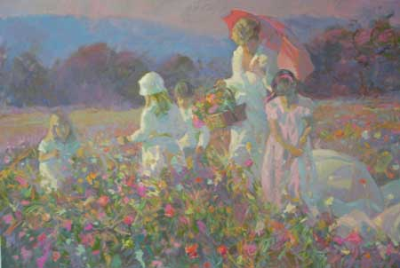 Don Hatfield - Parasols and Wildflowers (31x43 serigraph on paper)
