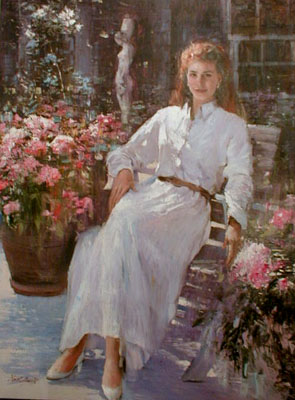 An He Hans Amis In the Garden (40x30 oil painting on canvas)