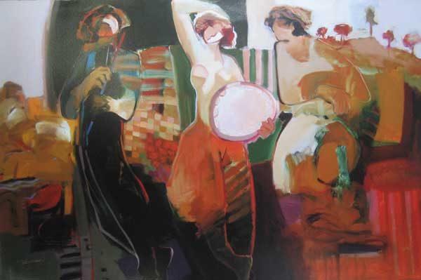 Hessam Abrishami A Good Season (26x39 serigraph on paper) People Dancing to Music