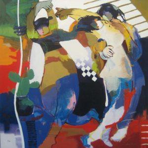 Hessam Abrishami - Tulip Dance (35x35 serigraph on canvas or paper)