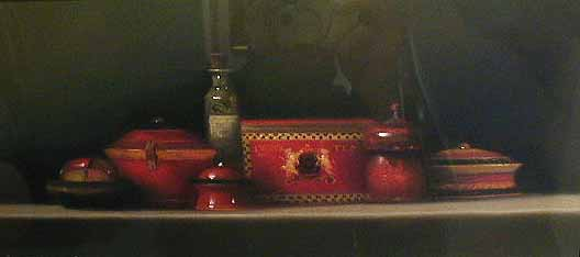Still Life with Red China (7x15.5 pastel)