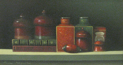 Still Life with Two Books (7x13 oil on canvas)