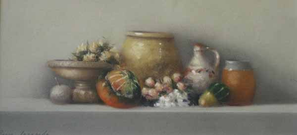 Still Life with Gourds & Roses (6x13 pastel)