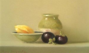 Still Life with Plums (6x9 pastel)