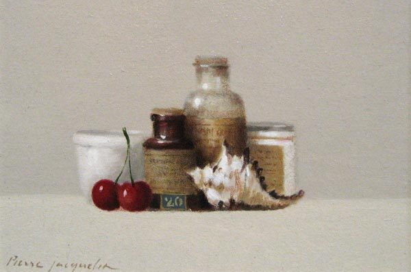Cherries & Conch (5x7.5 oil on board)