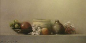 Still Life with Pottery (6x12 pastel)