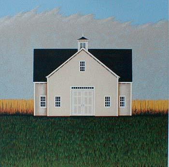 Ted Jeremenko - White Barn (15x15 serigraph on paper)