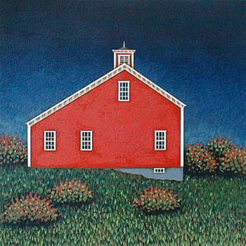 Ted Jeremenko - Red Barn (15x15 serigraph on paper)
