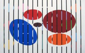Yaacov Agam abstract serigraph print with five ovals and stripes