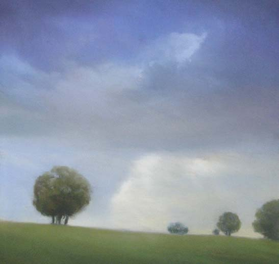 Will Klemm Pastel drawing of trees in a field with clouds