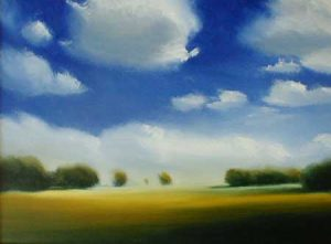 Will Klemm contemporary oil Painting of a field and sky with clouds