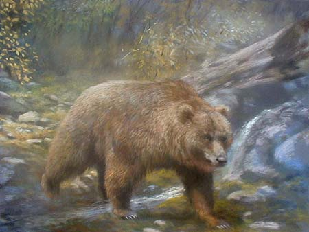 Joel Kirk pastel painting of a grizzly bear
