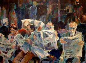 The Newspaper (36x48 oil on canvas)
