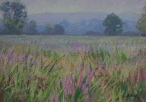 Lynne Adams Misty Meadow (10x14 oil on canvas) a traditional landscape painting of a purple meadow with blue mountains and trees